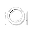 Set sketch cutlery Plate fork and knife Template vector image