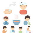 sick set icons in cartoon style big collection of vector image