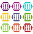 sound mixer icons set 9 vector image