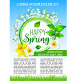 spring flowers poster of daffodils bloom vector image vector image
