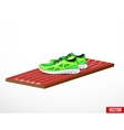 Symbol of a run shoes and athletic track vector image