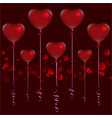 valentines day red balloons on dark red vector image vector image