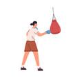 woman athlete punching boxing bag female boxer vector image