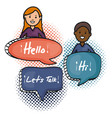 young couple with speech bubbles and hello vector image vector image