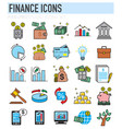 business and finance thin line icons set on white vector image