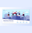 business heroes web page entrepreneurs in coats vector image