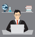 businessman and isometric laptop vector image vector image