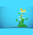 businessman climbing giant beanstalk to get reward vector image vector image