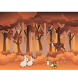 Cartoon Autumn Forest with Animals2 vector image vector image