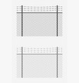 chain link fence barb wire vector image vector image