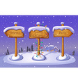 Christmas sign boards on winter background vector image vector image