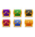 closed colored wooden chest for ui game vector image