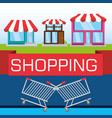 colorful stores with elements shopping concept vector image vector image