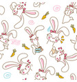 cute bunnys seamless pattern background vector image