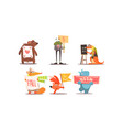 cute humanized animals set funny animals vector image vector image