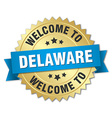 Delaware 3d gold badge with blue ribbon vector image vector image