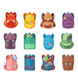 different schoolbags in cartoon style isolate on vector image vector image