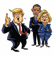 donald trump hillary clinton and barack obama vector image vector image