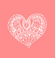 doodle hand drawn heart white heart vector image vector image