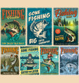 fishing vintage posters set vector image