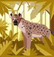 flat geometric jungle background with hyena vector image vector image
