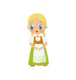 flat icon of adorable girl with blond hair vector image