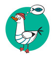 Funny cartoon seagull dreaming vector image