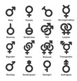 gender icons set on white background vector image