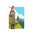 girl with backpack in summer mountain landscape vector image vector image