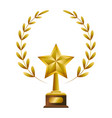 gold trophy withlaurel whreat vector image vector image