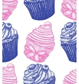 hand drawn berry cupcake background vector image vector image