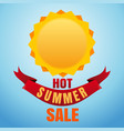 hot summer sale sun logo icon and lettering vector image