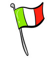 italian flag on white background vector image vector image