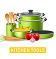 Kitchen Tools With Vegetables vector image