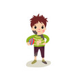 little boy with muddy face in dirty ragged clothes vector image vector image