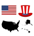 map usa with a hat and flag on white vector image vector image
