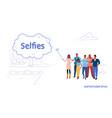 men women people group using selfie stick taking vector image