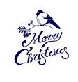 merry christmas lettering on a card with bullfinch vector image vector image