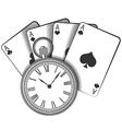 Old pocket watch and playing cards vector image