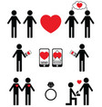 Plain impersonalized falling in love and vector image vector image