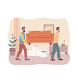 relocation and moving into flat moving furniture vector image vector image