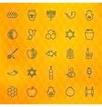 Rosh Hashanah Thin Line Icons Set vector image vector image