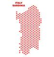 sardinia map - mosaic of valentine hearts vector image vector image
