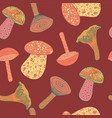 seamless pattern with mushrooms on dark background vector image