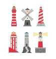set of cartoon flat lighthouses vector image vector image