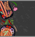 set of grilled sausages vector image