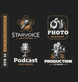 set photo vdeo audio logo vector image