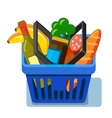 shopping basket with fresh food vector image vector image