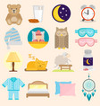 sleep time icons flat set with window milk vector image