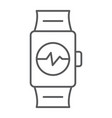 smart watch thin line icon clock and digital vector image vector image